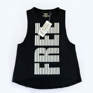 Her Shop activewear Black / XS Women Letter Printed Breathable  Yoga Top
