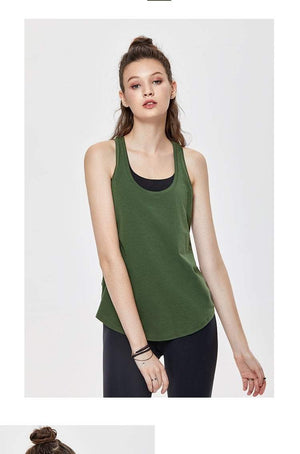 Her Shop activewear Women's Flowy Lightweight Pima Cotton Workout Tank Tops