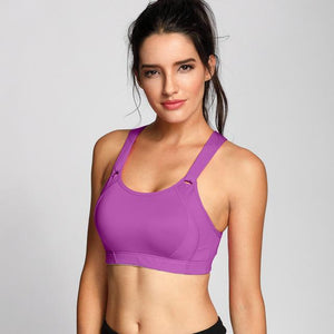 Her Shop activewear Purple04 / B / 34 Women's High Impact Wire Free Full Coverage Lightly Padded Sports Bra