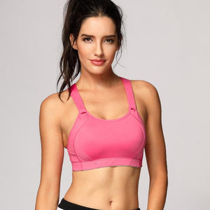 Her Shop activewear Pink03 / B / 34 Women's High Impact Wire Free Full Coverage Lightly Padded Sports Bra