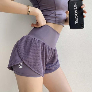 Her Shop activewear Purple / M Women Summer High Waist Mesh Yoga Shorts