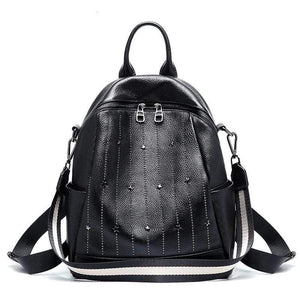 Her Shop Bags 100% Genuine Leather Daily Casual Backpack For Women