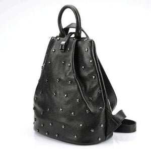 Her Shop Bags Punky style women stud cow skin genuine leather soft backpack