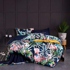 Her Shop Bedding Color 18 / Twin size 4Pcs / flat sheet style Egyptian Cotton Soft Duvet Cover Fitted/Bed sheet set Multi Color Flamingo Paisley Bedding Set Twin Queen King size 4Pieces