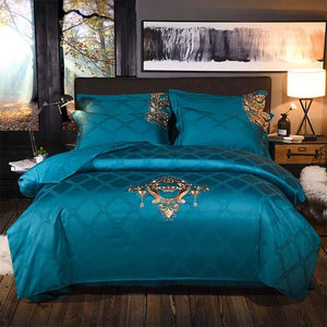 Her Shop Bedding Europe luxury Embroidery Bedding Sets 100% Egypt Cotton Bedclothes Duvet/Quilt Cover Bed Linen Sheet wedding Set Queen King Size