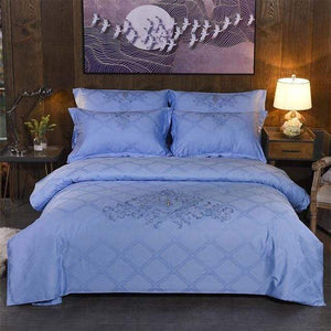 Her Shop Bedding 8 / Queen 4pcs Europe luxury Embroidery Bedding Sets 100% Egypt Cotton Bedclothes Duvet/Quilt Cover Bed Linen Sheet wedding Set Queen King Size