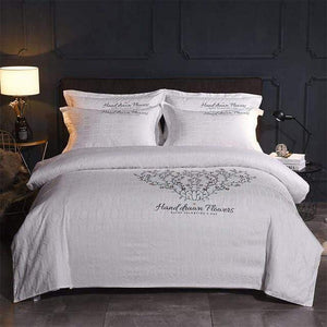 Her Shop Bedding 5 / Queen 4pcs Europe luxury Embroidery Bedding Sets 100% Egypt Cotton Bedclothes Duvet/Quilt Cover Bed Linen Sheet wedding Set Queen King Size
