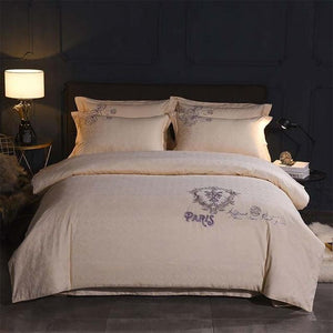 Her Shop Bedding 3 / Queen 4pcs Europe luxury Embroidery Bedding Sets 100% Egypt Cotton Bedclothes Duvet/Quilt Cover Bed Linen Sheet wedding Set Queen King Size