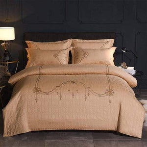 Her Shop Bedding 2 / Queen 4pcs Europe luxury Embroidery Bedding Sets 100% Egypt Cotton Bedclothes Duvet/Quilt Cover Bed Linen Sheet wedding Set Queen King Size