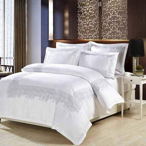 Her Shop Bedding 5 / King size 4 pcs Luxury 100% cotton Embroidery home bedding set white satin duvet cover sets oriental vintage style bed linen bedclothes