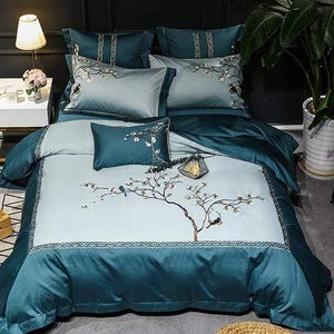 Her Shop Bedding Green bedding set / Queen size 7pcs / Fitted sheet style Luxury 600TC Egyptian Cotton Ultra Soft Embroidery Floral Birds Bedding Set  King Size Queen 4/7Pcs