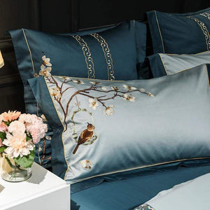Her Shop Bedding Luxury 600TC Egyptian Cotton Ultra Soft Embroidery Floral Birds Bedding Set  King Size Queen 4/7Pcs