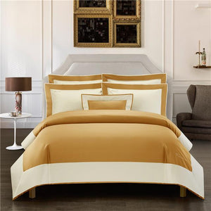 Her Shop Bedding 5 / Queen size 4pcs Luxury Hotel Linen Bedding Set 1200TC Egyptian Cotton Duvet Cover Bed Sheet Set Pillowcases