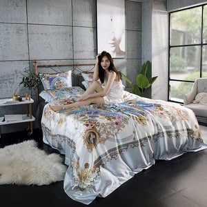 Her Shop Bedding 03 / Queen 2x2.3m sets Satin 100% Pure Mulberry Silk Bedding Sets Duvet Cover