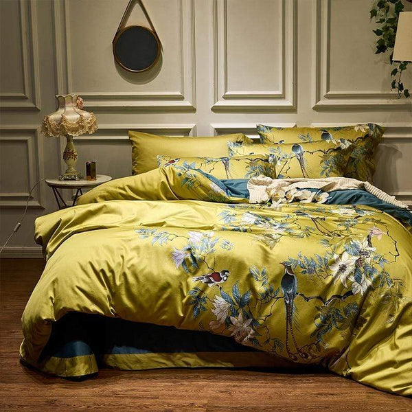 Her Shop Bedding Silky Egyptian Cotton Yellow/Green Duvet Cover King Size /Queen Size Bedding Set