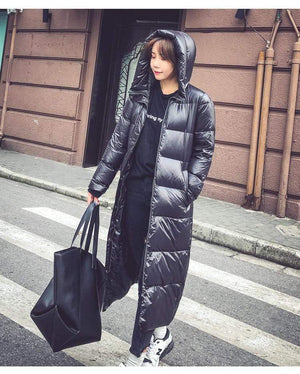 Her Shop Black Fashion Hooded 90% White Duck Down Jacket Casual Winter Jacket Women