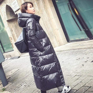 Her Shop Black / L Black Fashion Hooded 90% White Duck Down Jacket Casual Winter Jacket Women