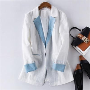 Her Shop Blazers 3 / S Cotton Linen Single Button Casual Blazer Suit