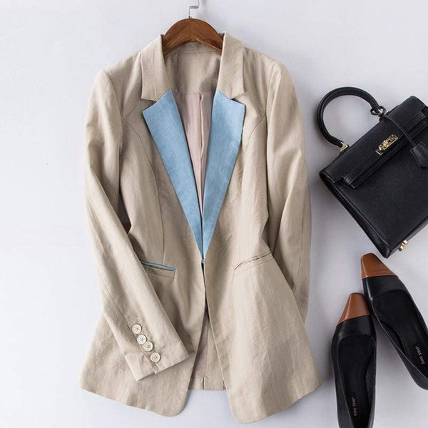 Her Shop Blazers Cotton Linen Single Button Casual Blazer Suit