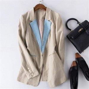 Her Shop Blazers 2 / S Cotton Linen Single Button Casual Blazer Suit