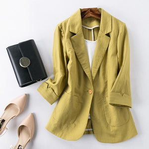 Her Shop Blazers Ladies Candy-Color Linen Blazer