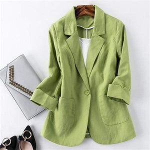 Her Shop Blazers 5 / S Ladies Candy-Color Linen Blazer