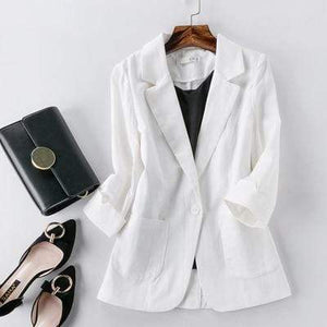 Her Shop Blazers 1 / S Ladies Candy-Color Linen Blazer