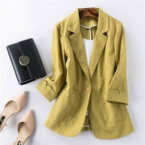 Her Shop Blazers 4 / S Ladies Candy-Color Linen Blazer