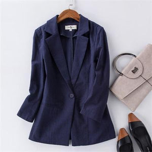 Her Shop Blazers 1 / S Women Cotton Linen Office Suit
