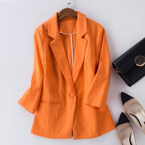 Her Shop Blazers Women Cotton Linen Office Suit
