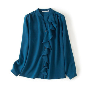 Her Shop Blouse Peacock Blue / M 100% Natural Silk Office Lady Blouse