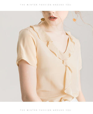 Her Shop Blouse 100% REAL SILK Crepe Short Sleeved Ruffled Collar Blouse
