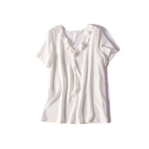 Her Shop Blouse White / L 100% REAL SILK Crepe Short Sleeved Ruffled Collar Blouse