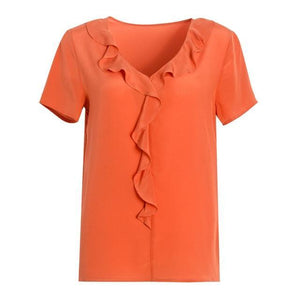 Her Shop Blouse Orange / L 100% REAL SILK Crepe Short Sleeved Ruffled Collar Blouse