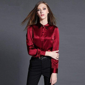 Her Shop Blouse Wine red / S Fashion 97% Silk Women Blouses