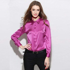 Her Shop Blouse Rose red / S Fashion 97% Silk Women Blouses