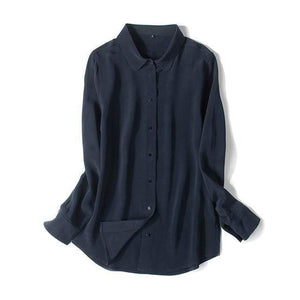 Her Shop Blouse Navy Blue / XL Heavy 100% REAL SILK CREPE Blouses