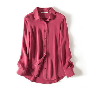 Her Shop Blouse Burgundy / S Heavy 100% REAL SILK CREPE Blouses