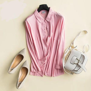 Her Shop Blouse Pink / L Heavy 100% Silk Knitted Silk Shirt