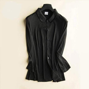 Her Shop Blouse Black / L Heavy 100% Silk Knitted Silk Shirt