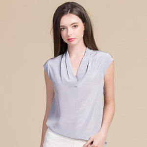 Her Shop Blouse Gray / XL Women Sweet  100% Real Silk Blouses