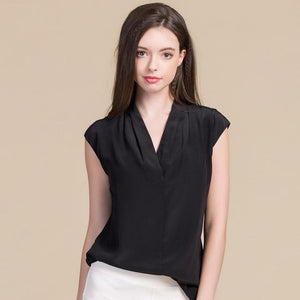 Her Shop Blouse Black / L Women Sweet  100% Real Silk Blouses