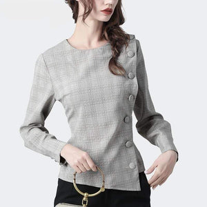 Her Shop Blouses Fashion Button Up Plaid Long Sleeve Ladies Top Elegant Slim Office Work Wear Blouses