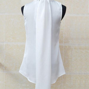 Her Shop Blouses & Shirts White / S Sleeveless Bow Knot Chiffon Blouse