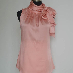 Her Shop Blouses & Shirts PINK / XS Sleeveless Bow Knot Chiffon Blouse