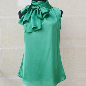 Her Shop Blouses & Shirts GREEN / XS Sleeveless Bow Knot Chiffon Blouse