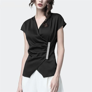 Her Shop Blouses & Shirts Black / M Summer Long Hang Up Buckle Short Sleeve Blouse
