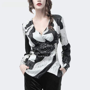 Her Shop Blouses & Shirts Women Black-White Printed Long Sleeve  Fashion Top