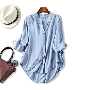 Her Shop Blouses & Shirts Light Blue / One Size Women Fall Blouse 3/4 Sleeves