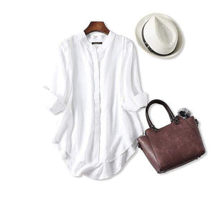 Her Shop Blouses & Shirts White / One Size Women Fall Blouse 3/4 Sleeves